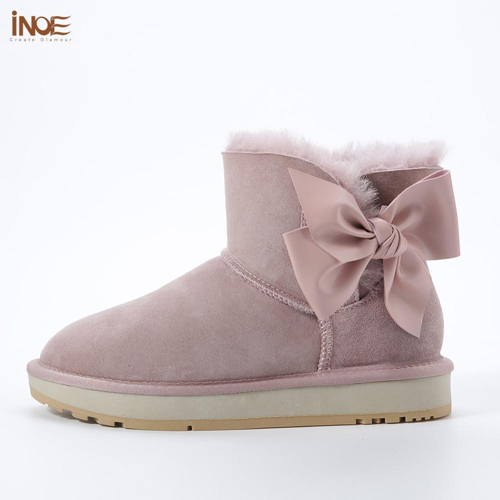 INOE sheepskin leather wool fur lined women suede short winter snow boots with know-knot casual ankle winter shoes dusk 35-44