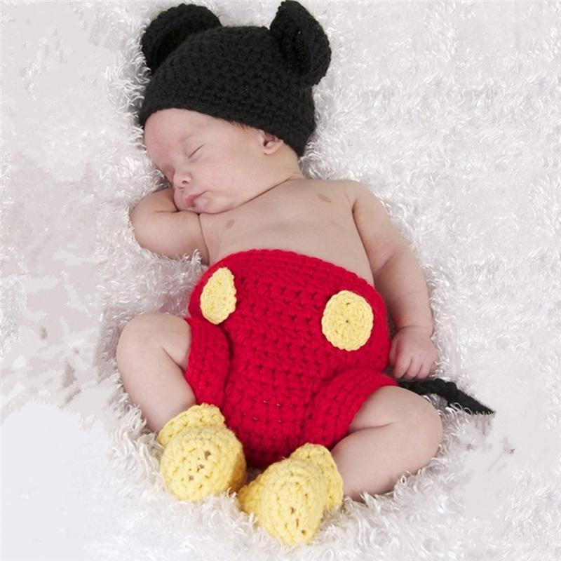 3 шт./компл. Детский костюм-тройка с Микки Маусом для новорожденных девочек и мальчиков вязаный крючком костюм Фотография реквизит наряды