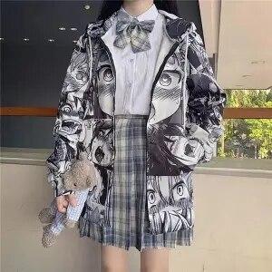 QWEEK Japanese Harajuku Anime Hoodie Hentai Zip Up 2021 Fashion Streetwear Women Kawaii Sweatshirts Korean Long sleeve Tops 7