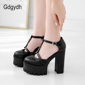 Image 5 - Gdgydh אביב סתיו קרסול רצועת אבזם נשים משאבות שחור עבה עקבים גבוהים נעלי נקבה אחת נעלי רדוד החוצה רך עור