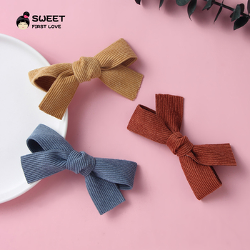 Cute Corduroy Baby Girl Hair Clips Bow Hairpins For Kids Solid Handmade Clips Newborn Baby Barrettes Hair Accessories For Girls 12 pcs korean style baby girl soft fur ball hair clip handmade barrettes head accessories new lovely gift for baby girls