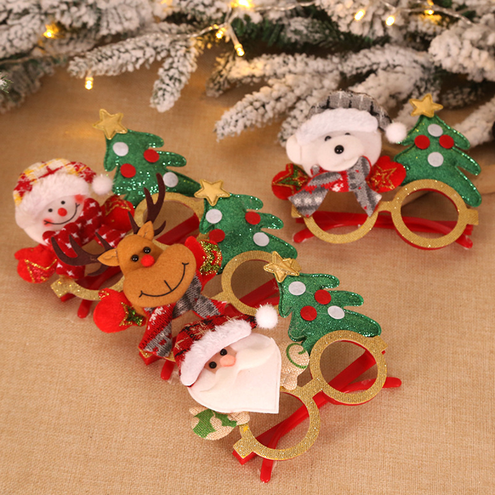 Funny Christmas Glasses Novelty Party Dress Santa Claus Snowman Eyeglasses Frame Christmas Decoration Kids Children Gifts