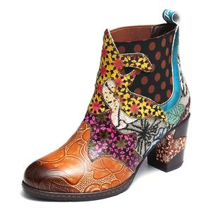 Vintage Leather Printed Ankle Boots For Women Shoes Woman Leather Retro Block High Heels Women Boots 2020 New Fashion Booties