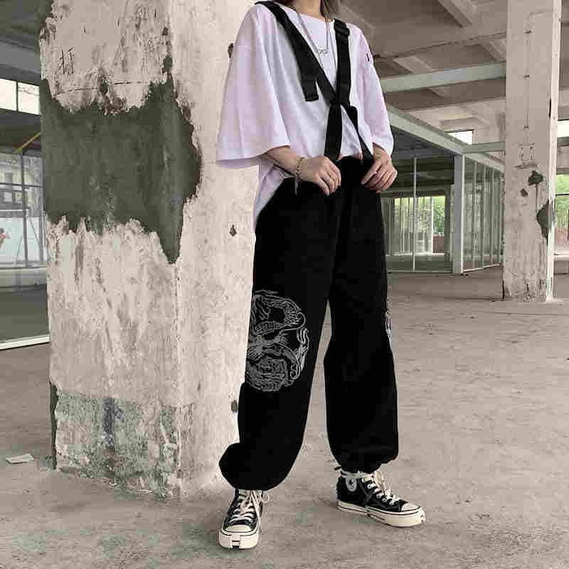 Nicemix Harajuku Draak Borduurwerk Broek Vrouwen Hoge Taille Losse Hip Hop Broek 2019 Nieuwe Mode Casual Streetwear Zwarte Broek