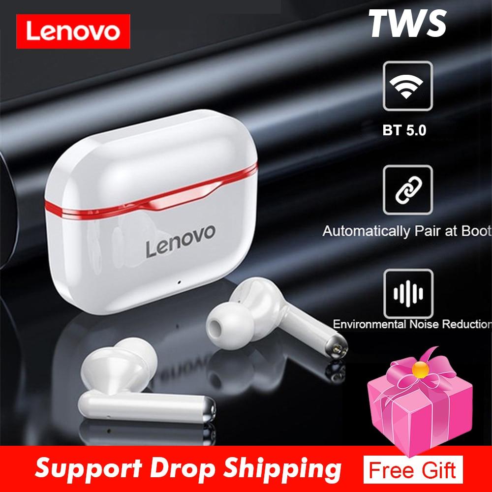Lenovo lp1 tws fones de ouvido bluetooth 5.0 verdadeiro controle toque sem fio esporte ipx4 sweatproof fones com microfone