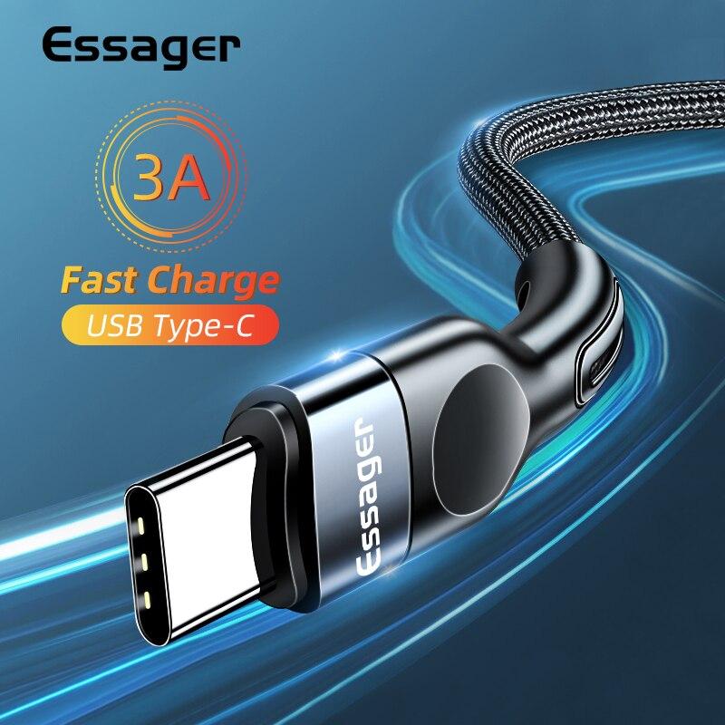 Essager usb tipo c cabo de carregamento rápido carregador para samsung xiaomi USB-C usb c cabo de fio de dados do telefone móvel usbc tipo-c cabo 2m