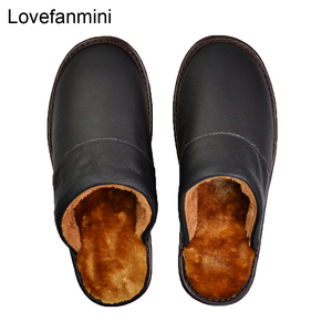 Image 3 - Genuine Cow Leather slippers couple indoor non slip men women home fashion casual shoes PVC soft soles winter 618