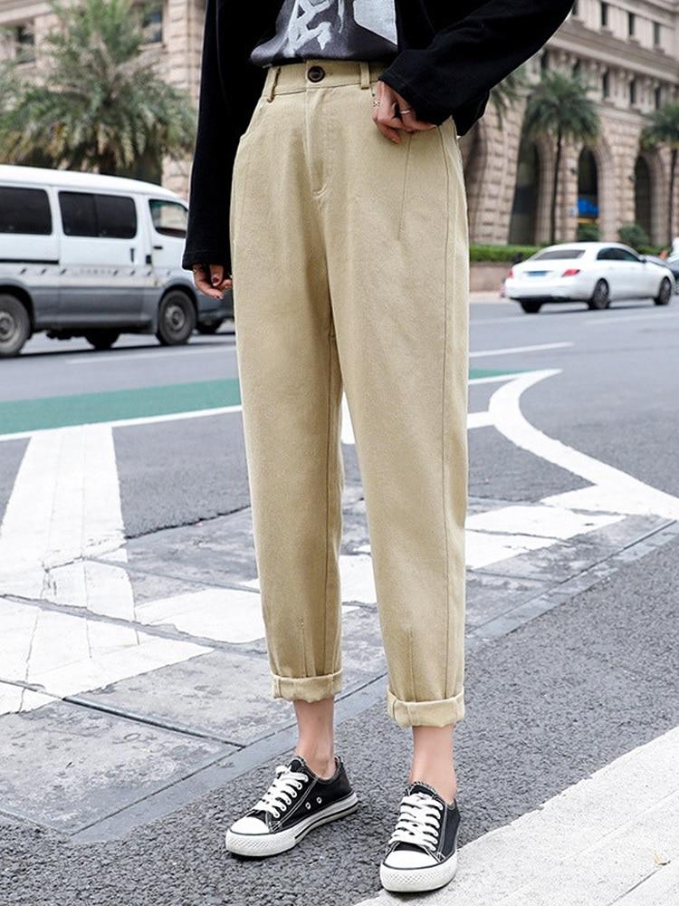 Women's Trousers Pantalon Harem-Pants Beige Loose Cargo Femme High-Waist Summer Cotton