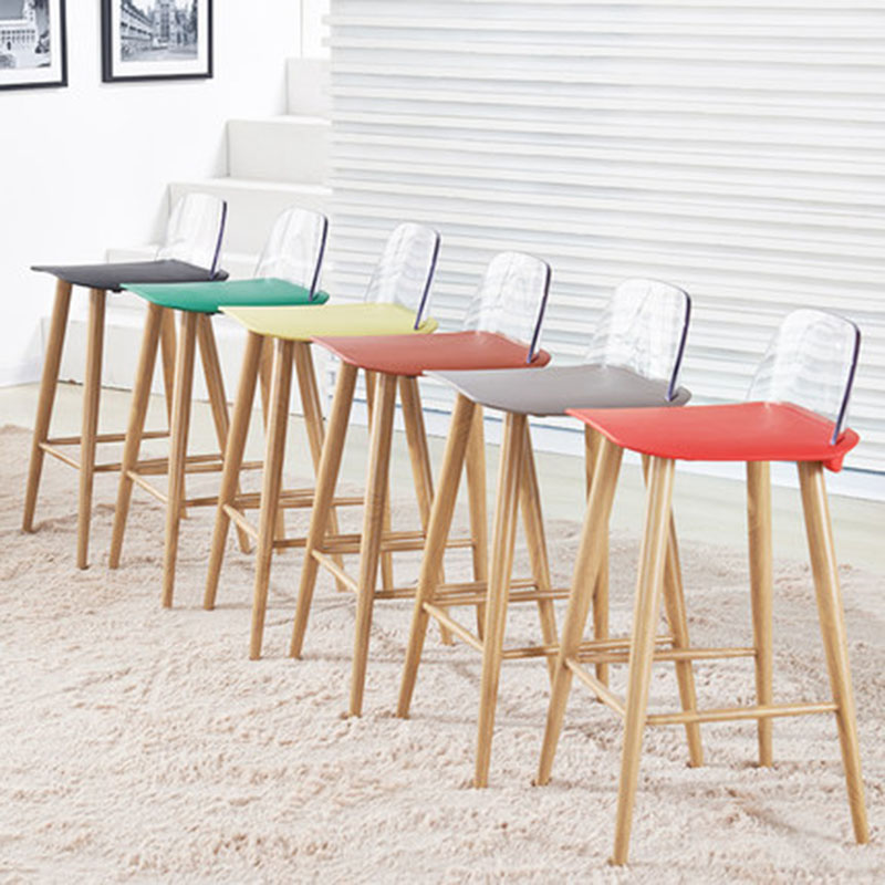 2019 Modern Minimalist Bar Chair High Stool Steel Leg Colourful Creative Simple Leisure Home Bar Tea Shop High Foot Barstool