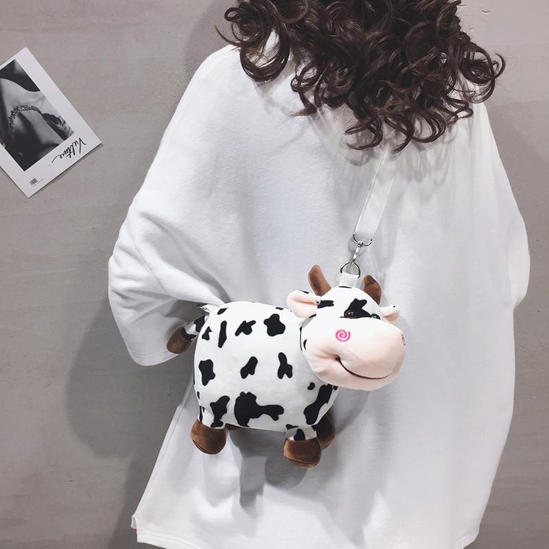 2020 New arrival Cute Plush Cow Crossbody Bags Cartoon Lovely Shoulder Handbags Animal Toy Women Crossbody Bag