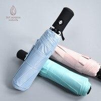 Solid Color Self opening Umbrella Folding Rain Or Shine Dual Purpose Three fold Umbrella Fully Automatic Vinyl Parasol Outdoor A|  -