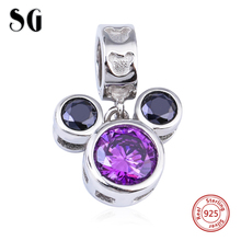 2017 Collection 925 Sterling Silver Charms Mickey Mouse CZ Pendants beads fit Authentic Pandora Bracelets Necklace Women Gift  все цены