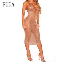FUDA Summer Beach See Through Mesh Dress Sexy Hollow Out Sleeveless V-neck Bodycon Bandage Slim Women Vintage Clothing