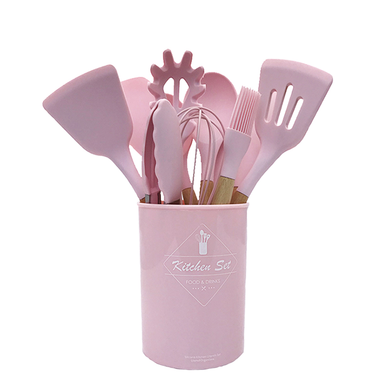 9 or 12pcs Pink Cooking Tools Set Premium Silicone Kitchen Cooking Utensils Set with Storage Box Turner Tongs Spatula Soup Spoon Cooking Tool Sets     - title=
