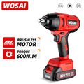 WOSAI 20V Electric Impact Wrench 600N.m Brushless Wrench Rechargeable 1/2 inch Li-ion Battery For Car Tires Cordless Power Tools