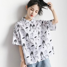 Women Cartoon Printed Shirt Turn-down Collar Blouse Casual Short Sleeve Loose