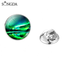 Romantic Green Aurora Borealis Brooches Colorful Northern Lights Forest Scene Glass Photo Cabochon Clasp Pins Badges 2019