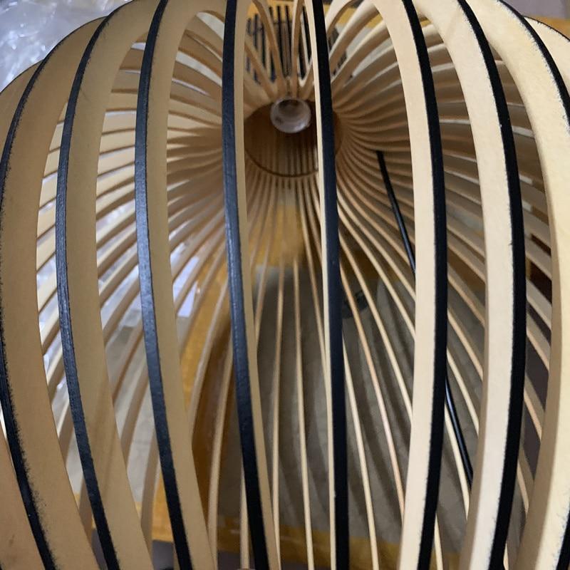 Modern Black Wood Birdcage E27 bulb Pendant light norbic home deco bamboo weaving wooden Pendant lamp - 5