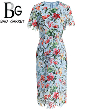 Baogarret 2019 Summer Fashion Runway Dress Women's Short Sleeve Casual Lace Hollow out Embroidered Floral Elegant Dress