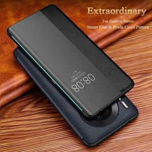 Luxo smart view janela p40pro caso da aleta para huawei p40 p30 p20 mate 30 20x 5g 10 pro lite p10 mais capa de telefone de couro genuíno