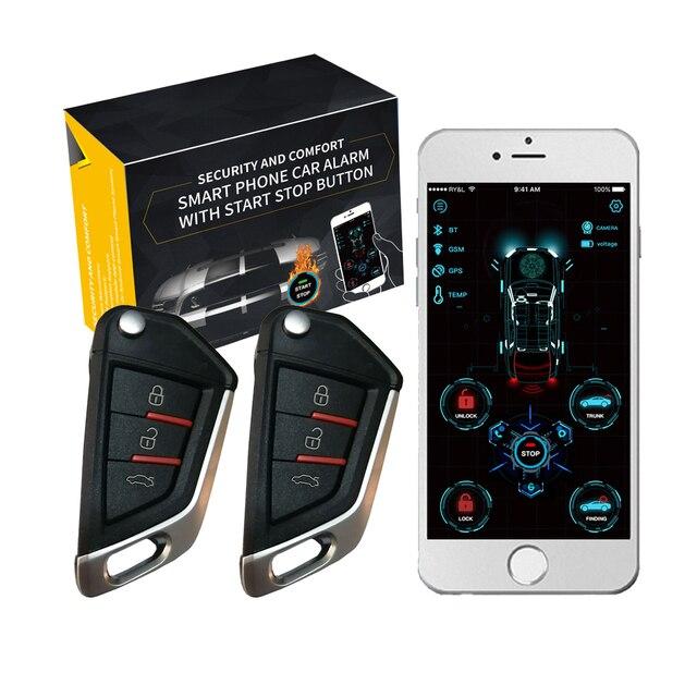Cardot yeni 4g Gps Gsm akıllı Pke anahtarsız giriş uzaktan marş Start Stop motor araba alarmı