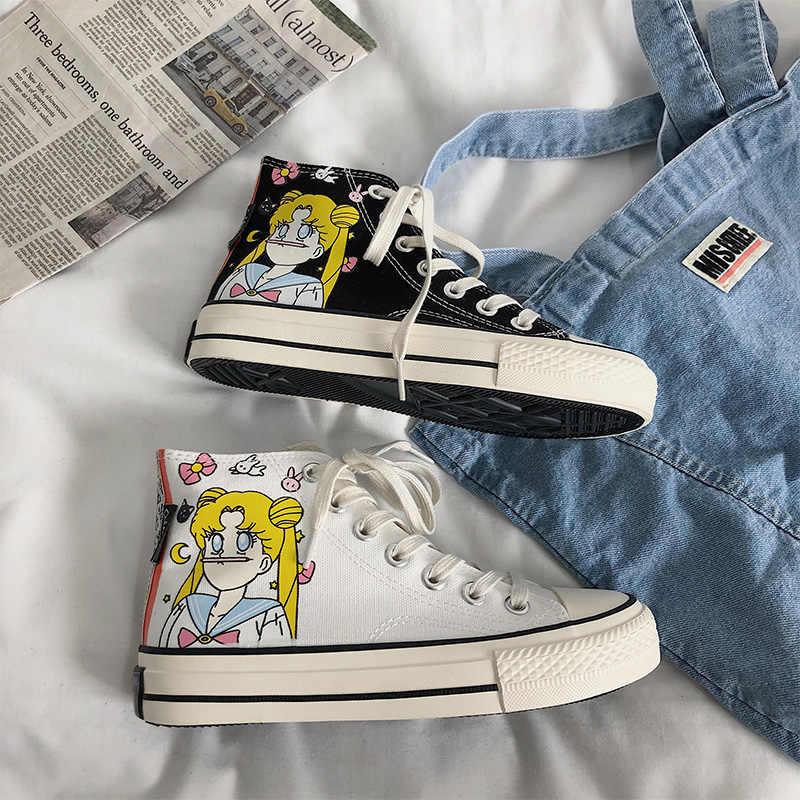 Anime Sailor Moon Cartoon Harajuku ภาพวาดผ้าใบรองเท้าการ์ตูนคอสเพลย์ Preppy สไตล์สีดำและรองเท้าสีขาวสำหรับสาวผู้หญิง