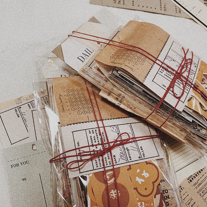 200Pcs/Lot Retro Vintage Material Bills Note Decoration Stationery Sticker Diary Planner Scrapbooking DIY Journal Paper Lover