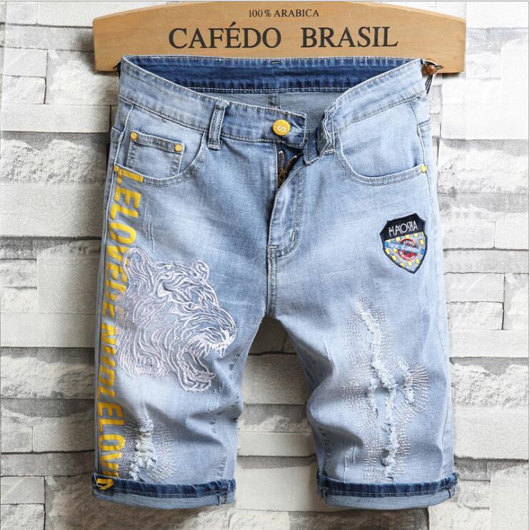 Men Denim Jeasn Straight Slim Fit Jeans Pants Good Quality Men Ripped Jeans for Men Vintage Mens Clothing Ripped Jeans Men