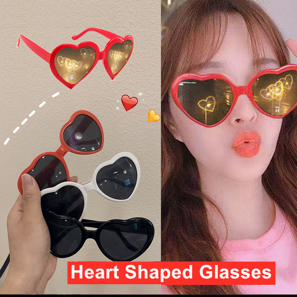 2021 Love Heart Shaped Effect Glasses Watch The Lights Change Love Image Heart Diffraction Glasses At Night Sunglasses For Women