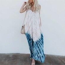Women Boho Sleeveless Tie-dye Maxi Dress 2020 Summer Boho Fa