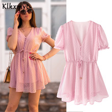 Klkxmyt summer dress women england style Drawstring Jacquard translucent sexy za dress vestidos de fiesta de noche vestidos(China)