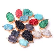 Natural Crystal geode connector pendant agates druzy pendants stone Gem Pendant necklace jewelry