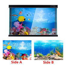 Background-Sticker Decorative-Accessories Poster Fish-Tank Ornament Ocean PVC Double-Side