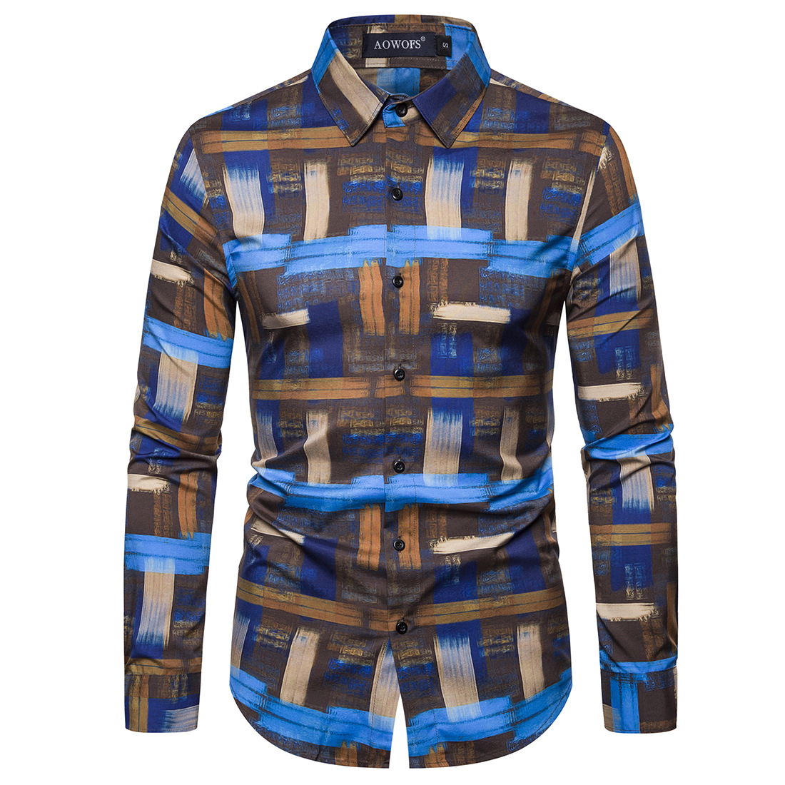2020 Spring New Digital Printed Mens Slim Fit Shirt Long Sleeve Good Quality Eu Size Chemise Homme