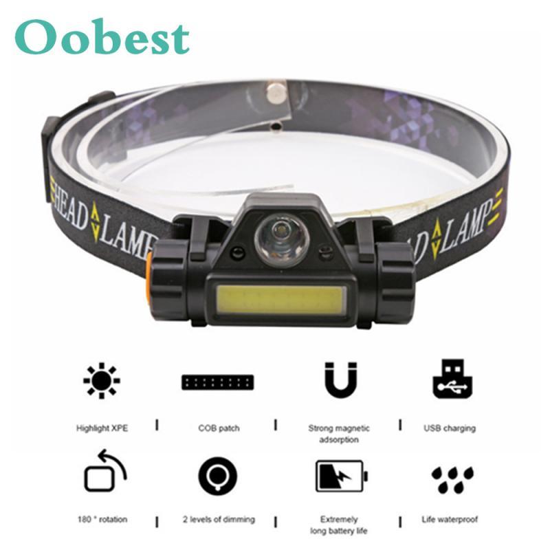 Mini XPE+COB LED HeadlampUSB Charging Fishing Head Lamp Induction Sensor T6 LED Flashlight Torch Lanterna Outdoor Camping Lamp