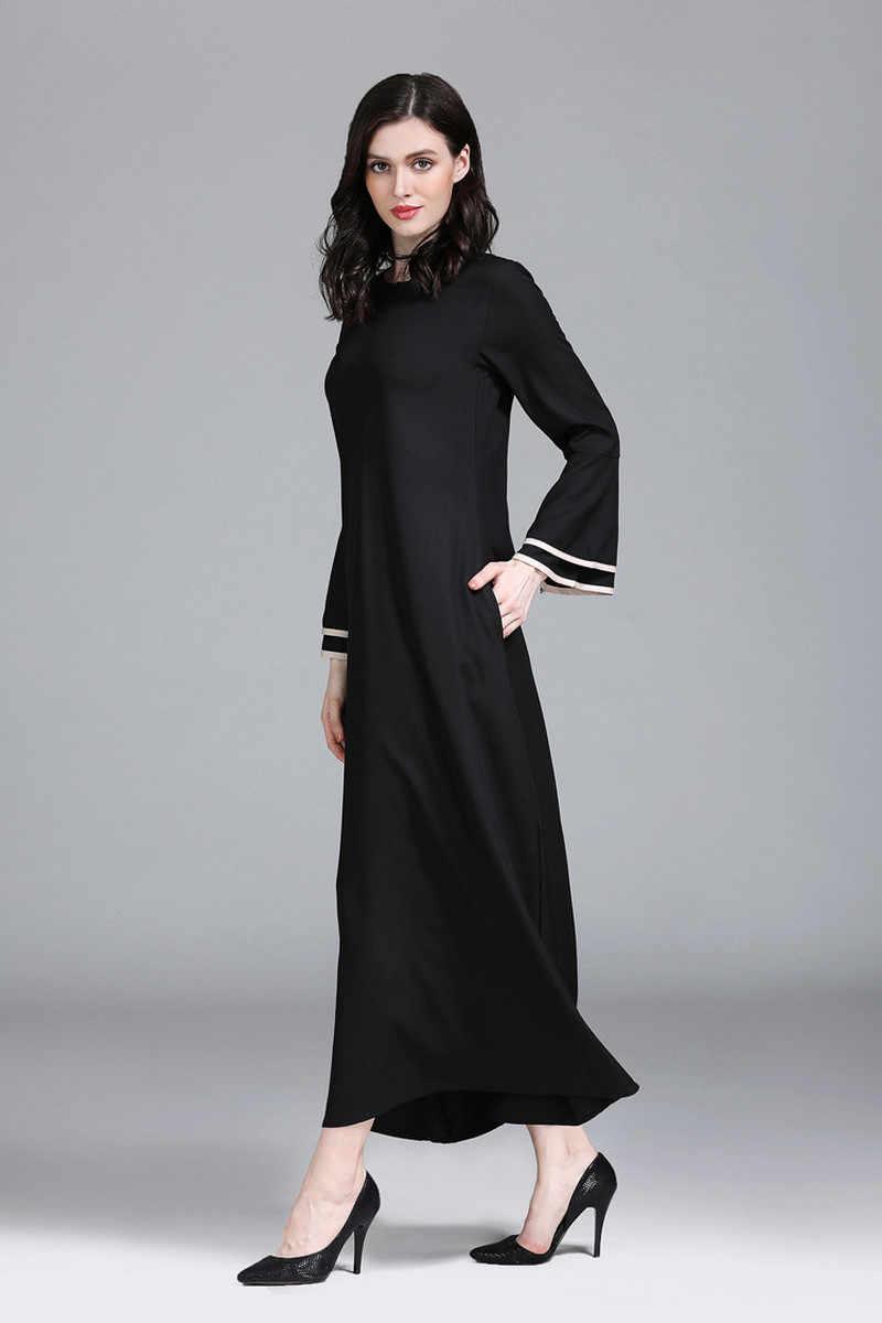 מוסלמי התלקחות שרוול חיג 'אב שמלת נשים O-צוואר פשוט אונליין קפטן העבאיה שמלות בגדים אסלאמיים גדול נדנדה דובאי קפטן שמלות