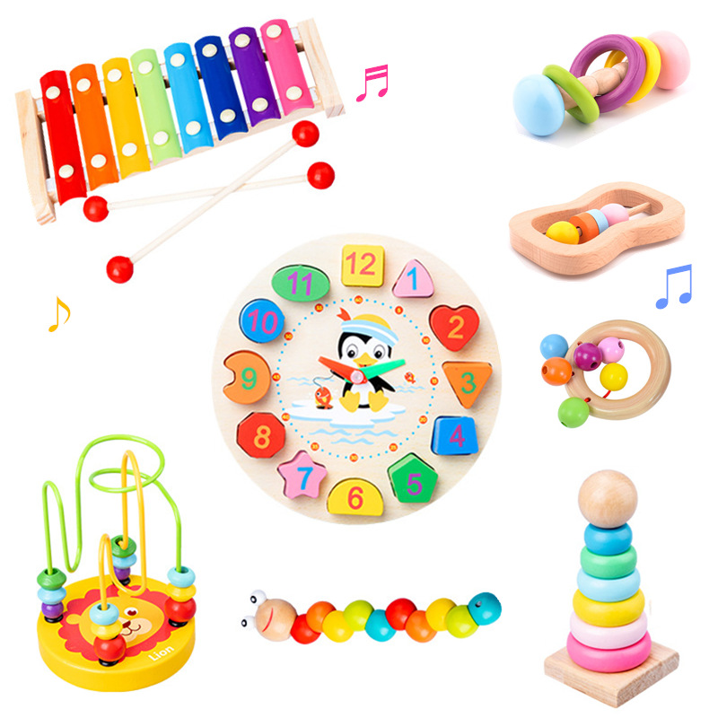 Montessori Educational Wooden Toys Rattles Colorful Musical Instrument Kids Games Sensory Toys For Children Development Toy Wood