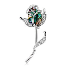 2019 New Top Grade Rose Brooch Fashion Natueal Shell Crystal Embellish Flower Brooches for Women Wedding Corsage Pins Jewelry(China)