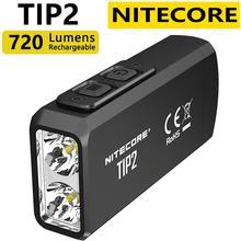 ضوء صغير الأصلي 100% NITECORE TIP2 كري XP G3 S3 720 التجويف USB قابلة للشحن سلسلة المفاتيح مصباح يدوي مع البطارية