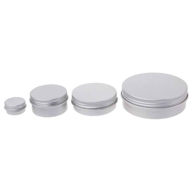 Recipiente cosmético de aluminio vacío de 5-120 ml, recipiente de lata de plata, caja redonda con tapa, soporte de envío directo