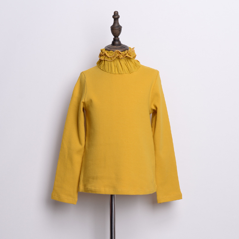Heap Collar GIRL'S Knitted Shirt Childrenswear 2017 Autumn And Winter New Products GIRL'S Pure Cotton Versatile Solid Color Base