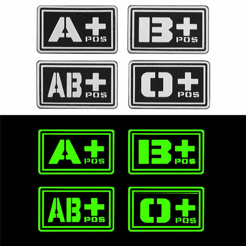 Glowing 3D PVC A+ B+ AB+ O+ Positive A- B- AB- O- Negative Blood Type Group Patch Stickers Sewing Decals Military Badges Rubber