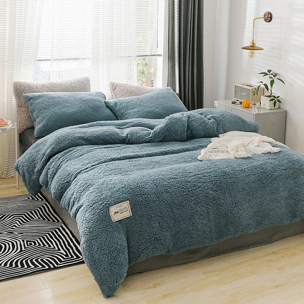 Home Textiles Quilt Cover 1pcs Pillow Case 2pcs Winter Bedding Sets Soft Warm Lamb Cashmere Duvet Cover Solid Fleece Bed Cover