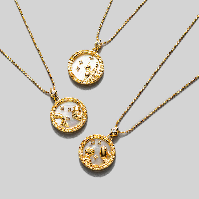 S925 Sterling Silver Shell Horoscope Constellation Libra Disc Coin Necklace  Fritillary/Blue Sandstone Zodiac Pendant Tlx745