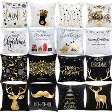 PATIMATE noel yastık kılıfı Merry Christmas dekorasyon ev noel süsler için 2019 noel Navidad hediyeler yeni yıl 2020