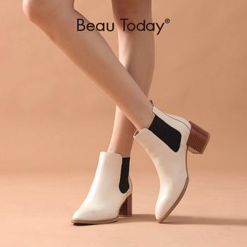 BeauToday High Heel Chelsea Boots Women Calf Leather Pointed Toe Elastic Band Wood-Effect Heel Ladies Ankle Length Shoes 03313 beautoday chelsea boots women cow suede pointed toe chunky heel elastic ladies ankle boots handmade a03324