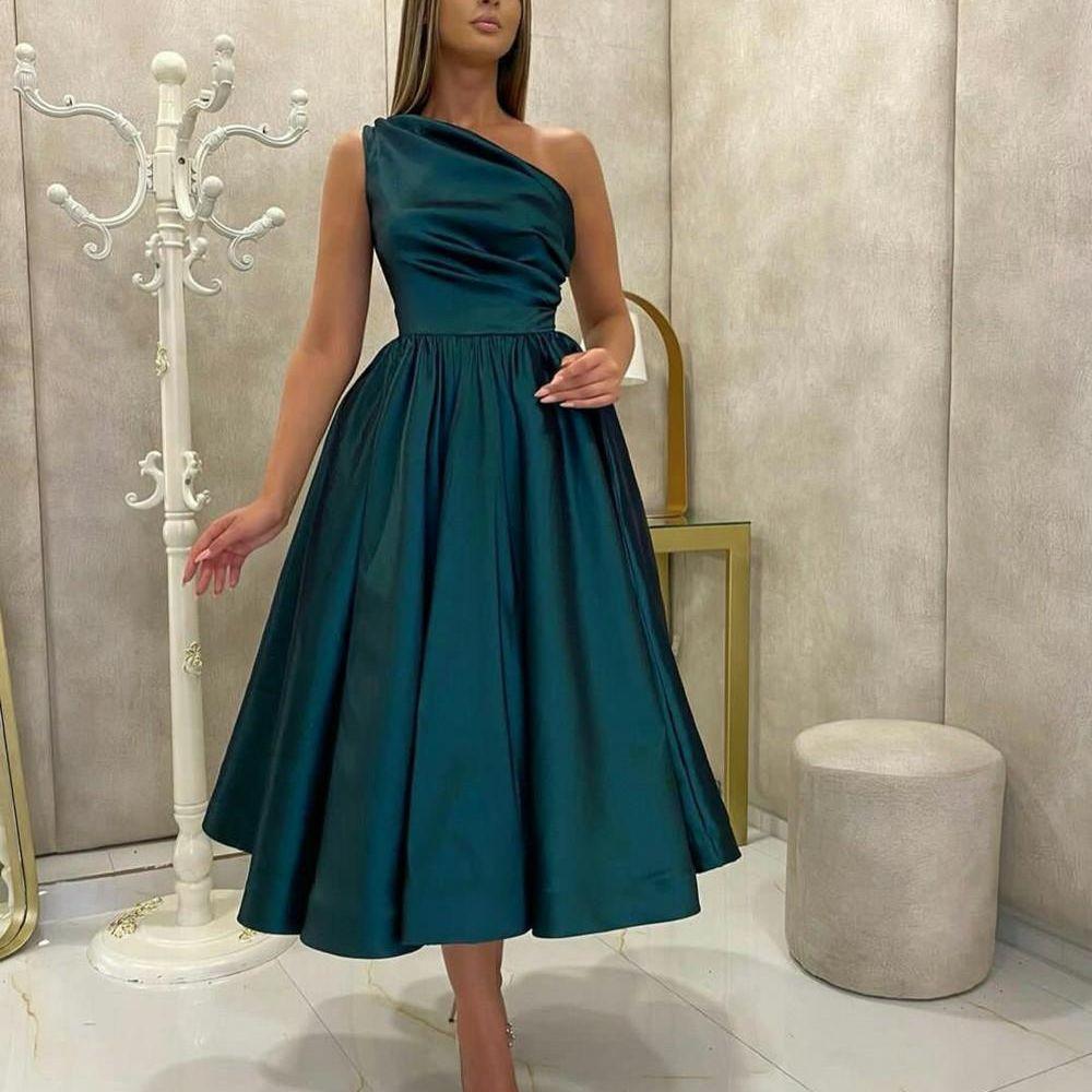 Simple Satin Cocktail Dresses One Shoulder Tea Length Short A-Line Graduation Dress Party Gowns Teal Green