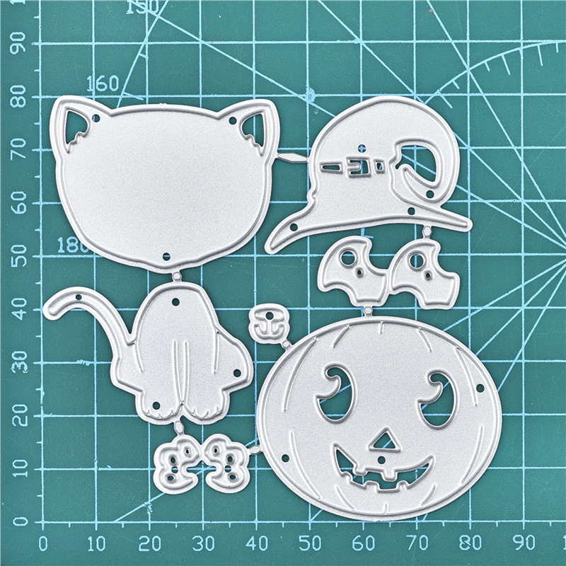 Naifumodo Halloween Pumpkin Lantern Cat Metal Cutting Dies New 2019 for Craft Dies Scrapbooking Embossing Stencil Die Cut Decor