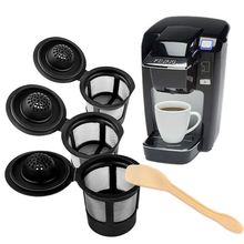 3Pcs Reusable Coffee Filters With Coffee Spoon Refillable Tea Pods Filter for Keurig Breville K Cup Coffee Dripper Tea Baskets