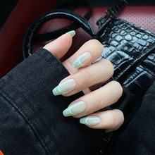 24pcs Light Green full cover Wearable Fake Nails coffin Fresh Suitable Girl Woman Summer Decoration Fingernails press on